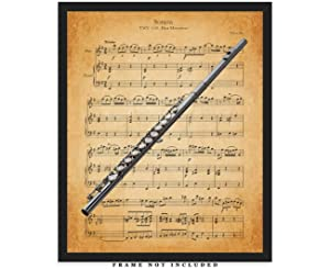 Vintage Flute Sheet Music Wall Art Print: Unique Room Decor for Boys, Men, Girls & Women - (8x10) Unframed Picture - Great Gift Idea Under $15 for Music Lovers!
