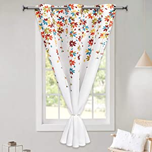 VERTKREA Flowers Window Curtain Floral Room Darkening Grommet Curtains 47 × 59 Inches Flower Drapes for Bedroom Living Room, Orange