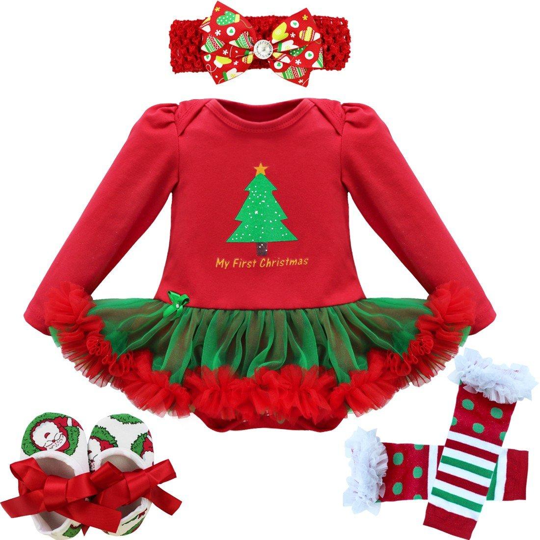 YiZYiF 3 St/ück Baby M/ädchen Weihnachten Outfits Set Weihnachtsmann Kost/üm Langarm//Kurzarm Strampler Bodysuit mit T/üt/ü Kleid Schuhe Stirnband