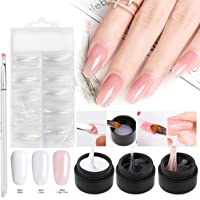 Builder Gel Nail kit, Saviland 3 Colors Poly Gel Finger Extension Set with False Nail Forms Pen(Clear Pink White)