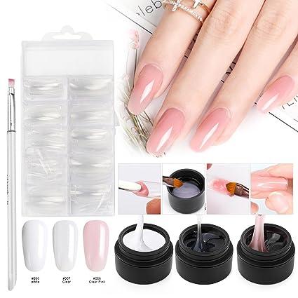 Kit de uñas de gel para construcción, Saviland 3 colores Poly Gel Dedo Extensión Set