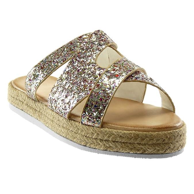 Angkorly Damen Schuhe Mule Sandalen - Plateauschuhe - Slip-On - Gekreuzte Riemen - Glitzer - Seil Keilabsatz High Heel 2.5 cm - Schwarz Silber YS-26 T 39 81WEHl