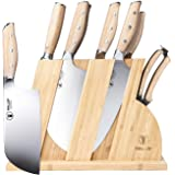 WALLOP Knife Set - 8 Piece Kitchen Knife Set Wooden Block - German 1.4116 HC Steel Sharp Knife Block Set - Full-tang…