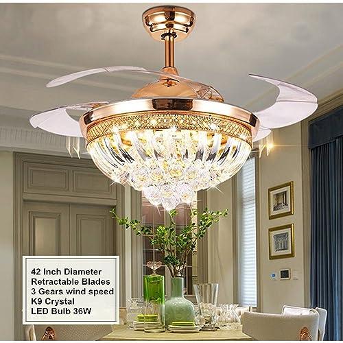 Fandian Modern Crystal Remote Control Transparent Acrylic Blade Retractable Ceiling Fan Lamp 42-inch Lighting Fan Chandelier Led Lights Fixture