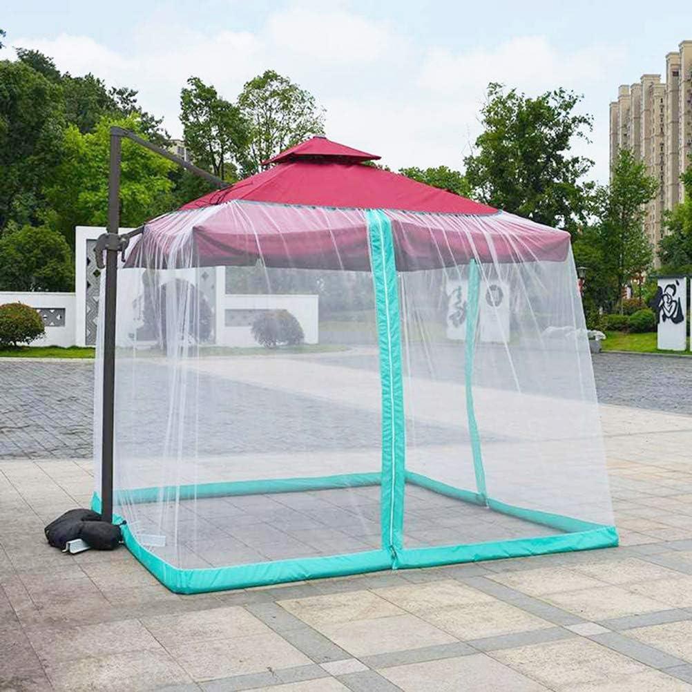 Pantalla de cubierta de red de paraguas, pantalla de mesa de sombrilla de jardín al aire libre Cubierta de mosquitera de parasol 300X400x230cm, para muebles de patio con cremallera Red de mosquitera