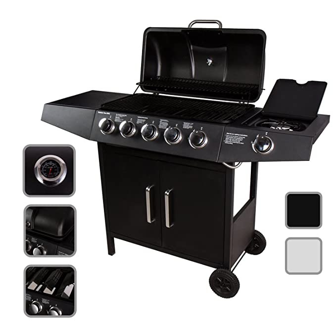 CCLIFE Barbacoa de Gas Parrilla Barbacoa Gas con 3+1/4+1/5+1/6+1 quemadores, Color:Black, Tamaño:5+1 Quemador: Amazon.es: Hogar