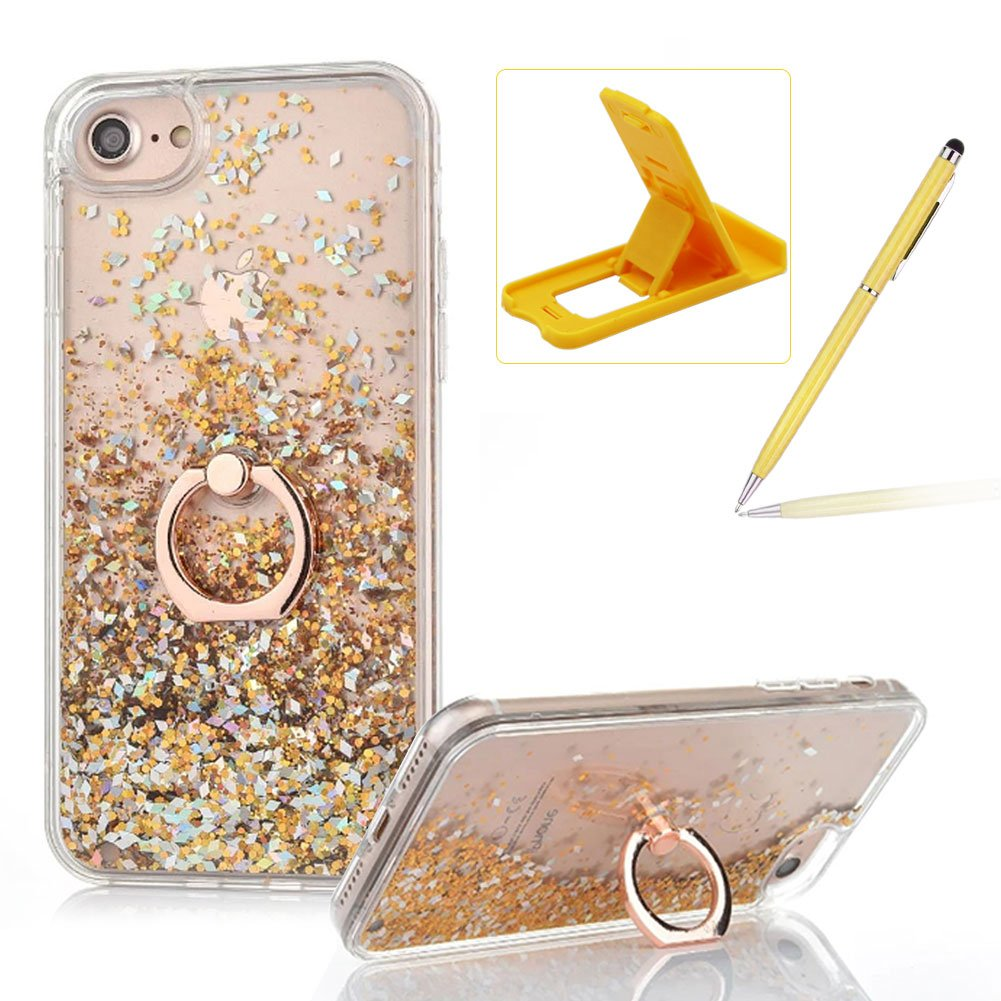 Hard Case for iPhone 6S, Plastic Glitter Case for iPhone 6, Herzzer Luxury 3D Creative Design Rose Gold Liquid Quicksand Sparkly Crystal Clear Protective Skin Back Case with 360 Degree Ring Holder for iPhone 6/6S 4.7 inch + 1 x Free Pink Cellphone Kickstan