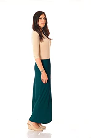 a9455831b8 Monte Carlo Maxi Modest Long Slinky Skirt (2, Teal) at Amazon Women's  Clothing store: