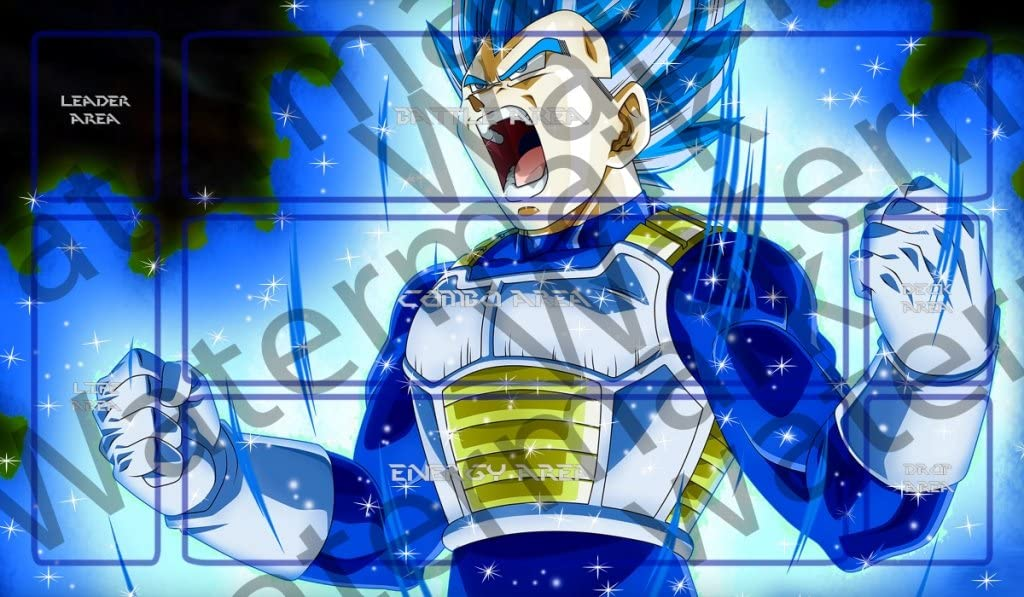 Masters of trade Goku Full ultra instinct Dragonball Super DBZ DBS TCG CCG playmat gamemat 24 wide 14 tall for trading card game smooth cloth surface rubber base