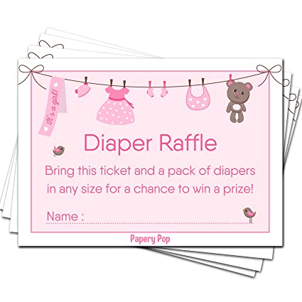 Amazon Com 50 Diaper Raffle Tickets For Baby Shower Girl 50 Pack