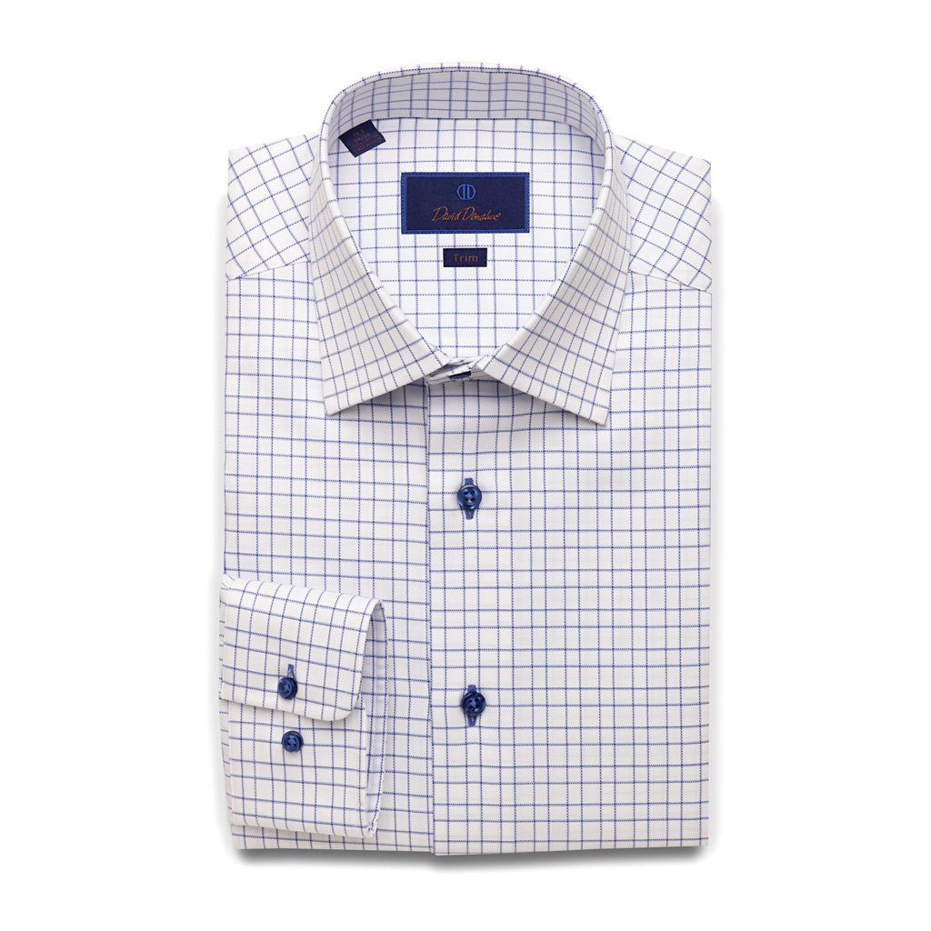David Donahue Trim Fit Open Check With Surprise Twill Dress Shirt 17'' Neck 36/37'' Sleeve Blue by David Donahue