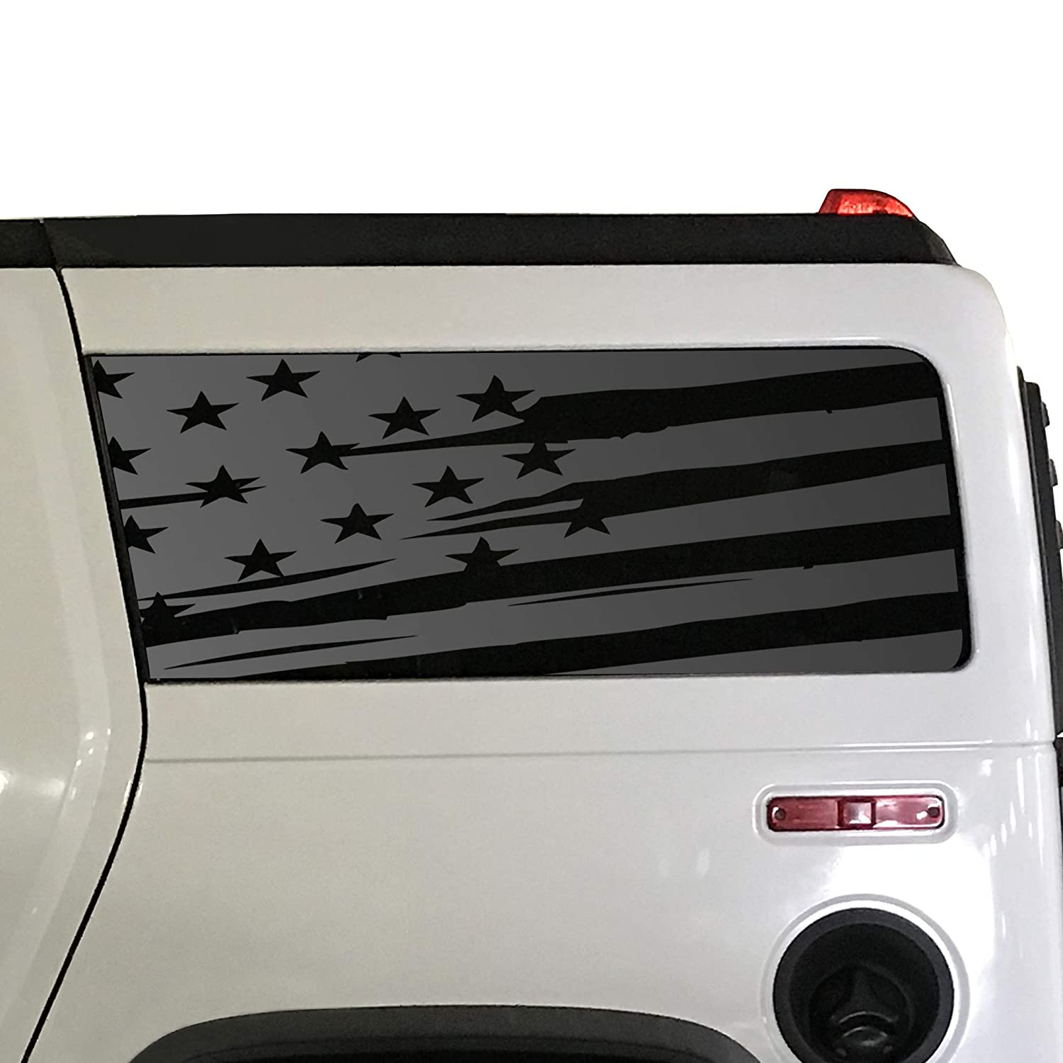 Distressed USA Flag Decals For 2002-2009 Hummer H2-3rd Windows Custom Design XR1-HH2.A