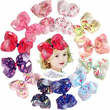 Amazon 12pcs large bows clips big spring flowers hair bows 12pcs large bows clips big spring flowers hair bows alligator clips for baby girls teenager mightylinksfo