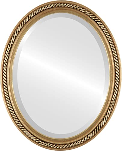 Oval Beveled Wall Mirror for Home Decor – Santa Fe Style – Gold Leaf – 32×42 Outside Dimensions