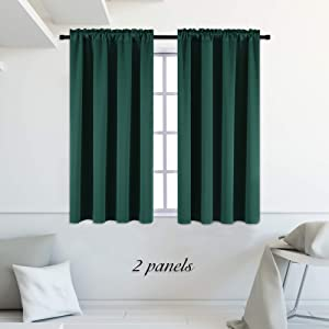 DONREN Hunter Green Blackout Thermal Insulating Window Curtains for Bedroom - 42 Inch Width Curtains Panels with Rod Pocket (42 by 45 Inch,2 Panels)