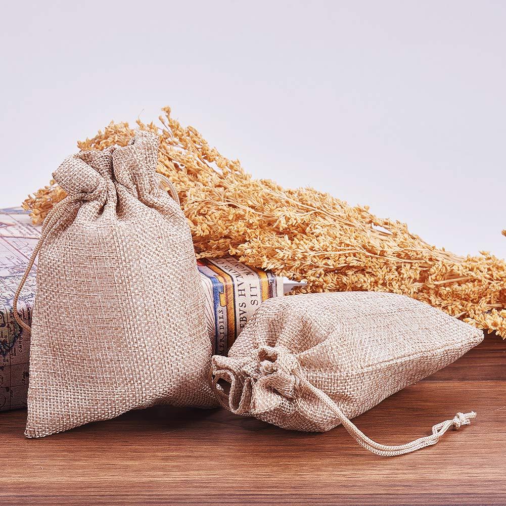 NBEADS 100 Piezas Bolsas de arpillera con Regalo cordón Bolsas de Regalo con Bolsas de joyería para el Banquete de Boda Festival de Navidad y artesanías de Bricolaje 663579