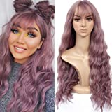 HUA MIAN LI Long Wavy Wig With Air Bangs Silky Full Heat Resistant Synthetic Wig for Women - Natural Looking Machine…