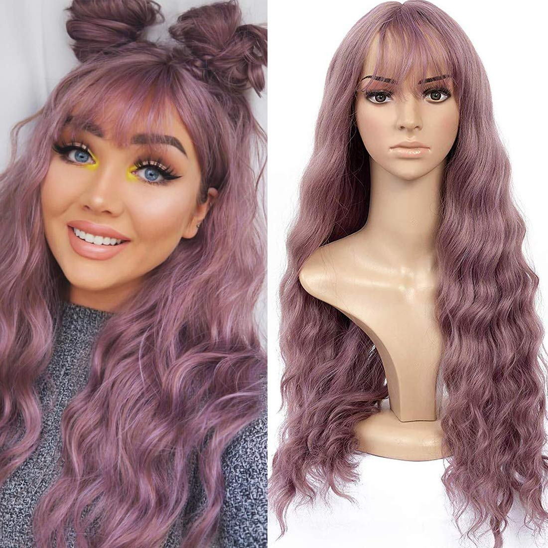 Long Wavy Wig With Air Bangs Silky Full Heat Resistant Synthetic Wig for Women (Pink)