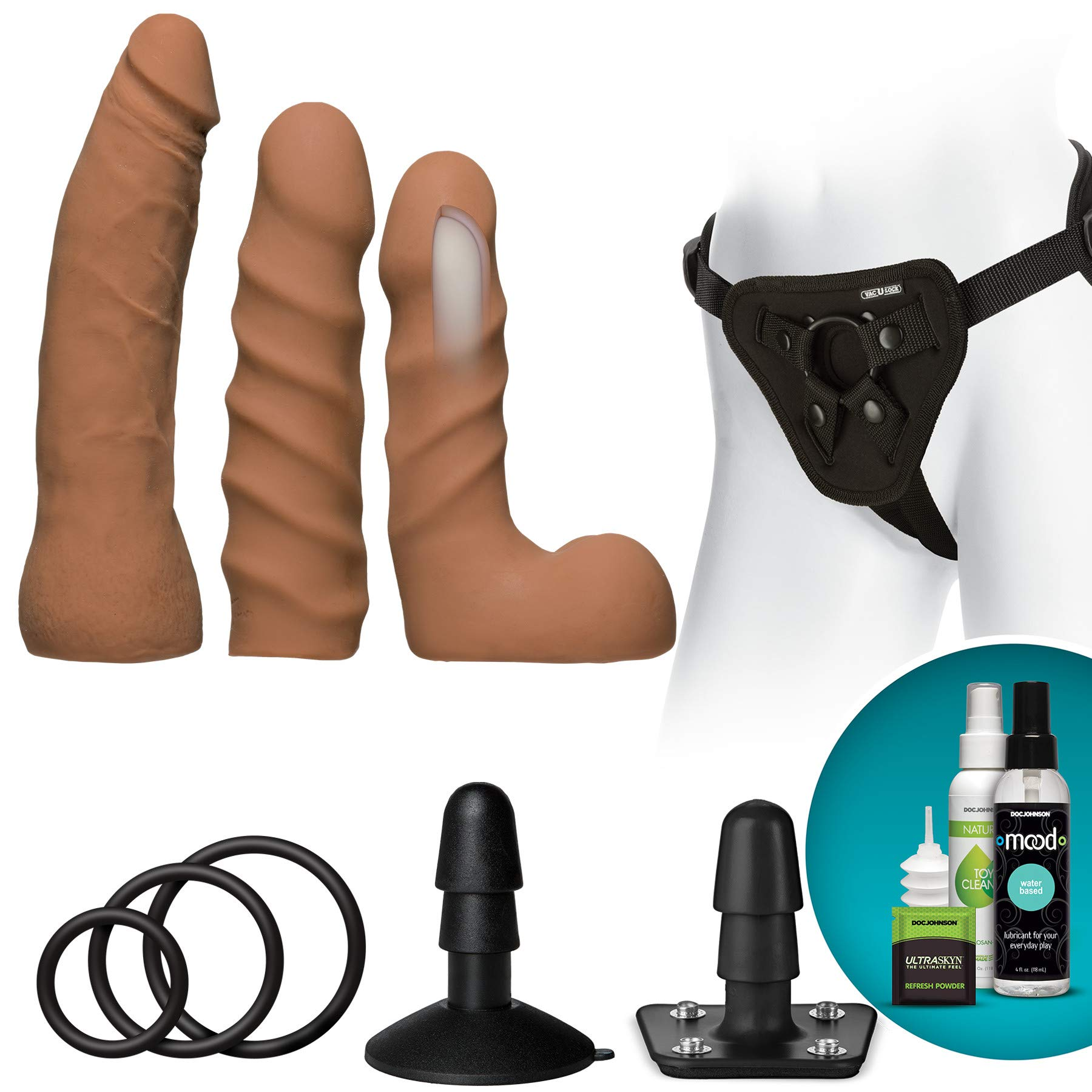 Doc Johnson Vac-U-Lock - Dual Density ULTRASKYNTM Starter Set - 3 Smaller Dildos, Supreme Harness, VUL Suction Cup, Toy Cleaner, Mood Water-Based Lube - Pegging, Caramel