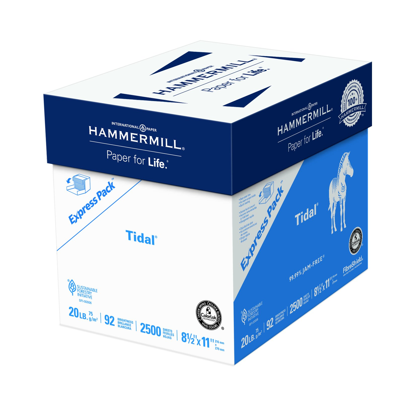 Hammermill Paper, Tidal Copy Paper, 8.5 x 11 Paper, Letter Size, 20lb Paper, 92 Bright, Express Pack / 2,500 Sheets NO REAM WRAP (163120C) Acid Free Paper