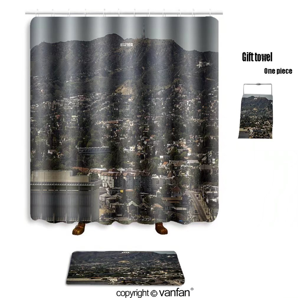 vanfan bath sets with Polyester rugs and shower curtain hollywood sign from downtown la 404741143 shower curtains sets bathroom 72 x 84 inches&31.5 x 19.7 inches(Free 1 towel and 12 hooks)