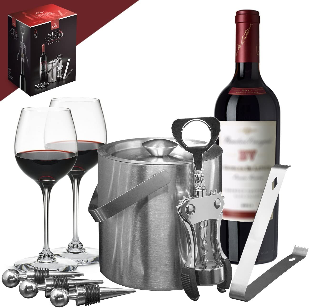 Sorbus Ice Bucket Wine Set — Deluxe 6 Piece Includes: Stainless Steel Double Walled Ice Bucket with Lid, Ice Tong, Bottle Opener, 3 Bottle Stoppers, For Any Occasion Great Holiday Gift