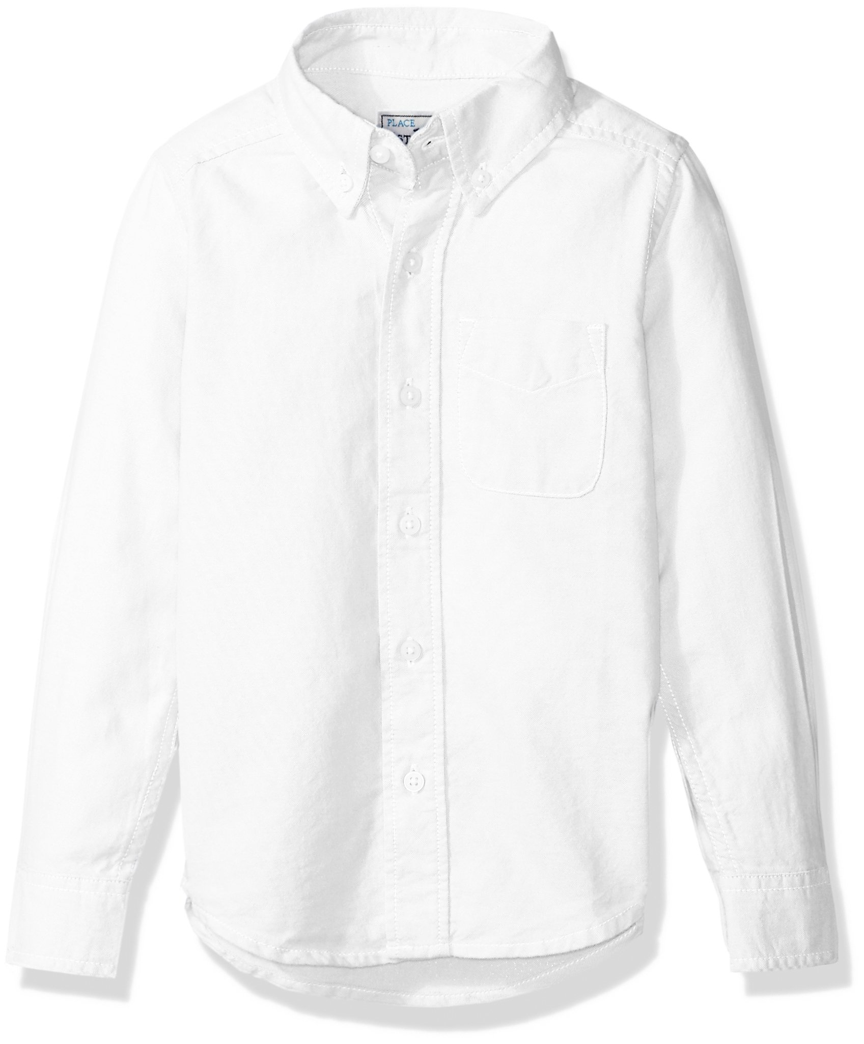 The Children's Place Little Boys' Long Sleeve Uniform Oxford Shirt, White 5063, Small/5/6
