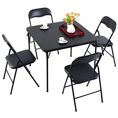 Casart 5PC Dining Set Guest Games Room Kitchen Multi-Purpose Folding Table Chair Set Black