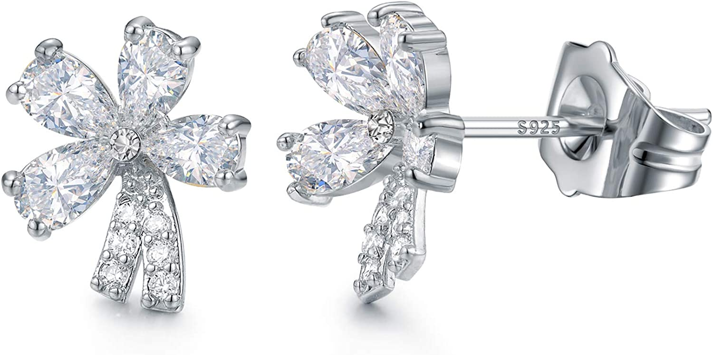 14K Rose Gold Finish CZ Stud Earrings Clear Emerald CZ Stud Ear Stud 4mm To 8mm