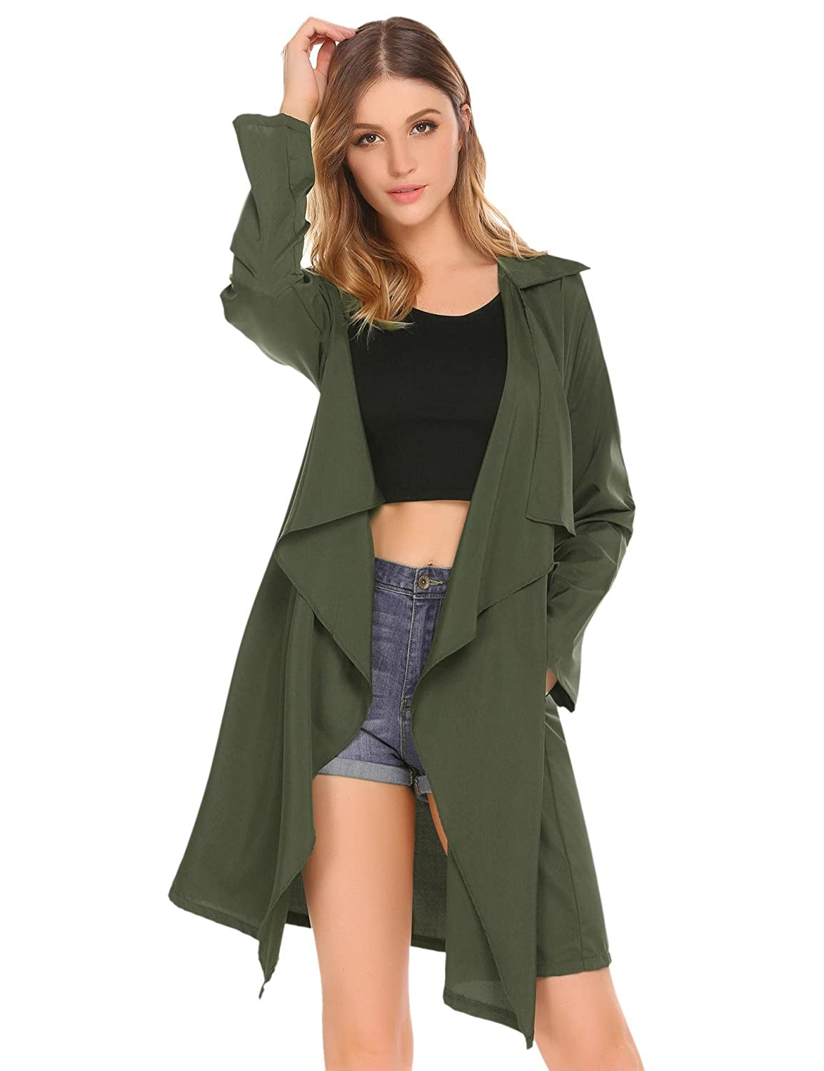 Mofavor Women's Lightweight Long Sleeve Draped Open Front Trench Coat Cardigan with Pockets