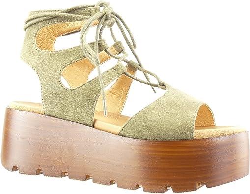 Angkorly Chaussure Mode Sandale Mule Plateforme Femme Lacets Multi Bride Bois Talon compensé Plateforme 6.5 CM