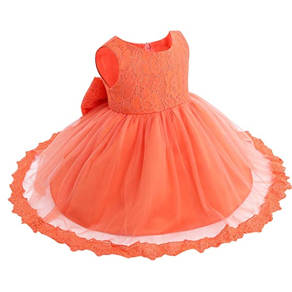 Flower Ruffled Princess Bowknot Baby Party Dress