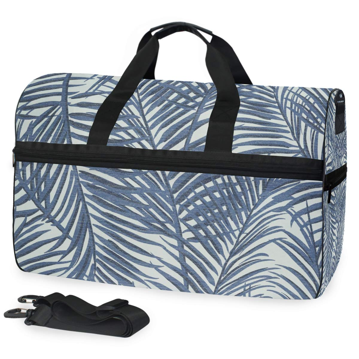 FAJRO Gym Bag Travel Duffel Express Weekender Bag Jean Color Leaves Grunge Texture Carry On Luggage with Shoe Pouch