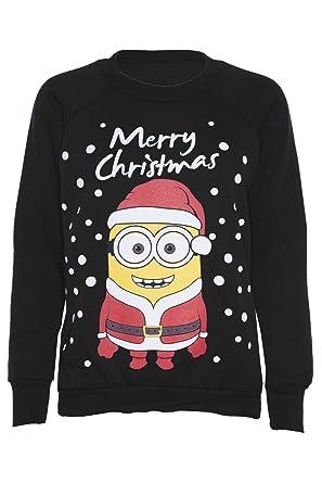 Womens Novelty Christmas Minion/Olaf Print Sweatshirt Jumper at ...