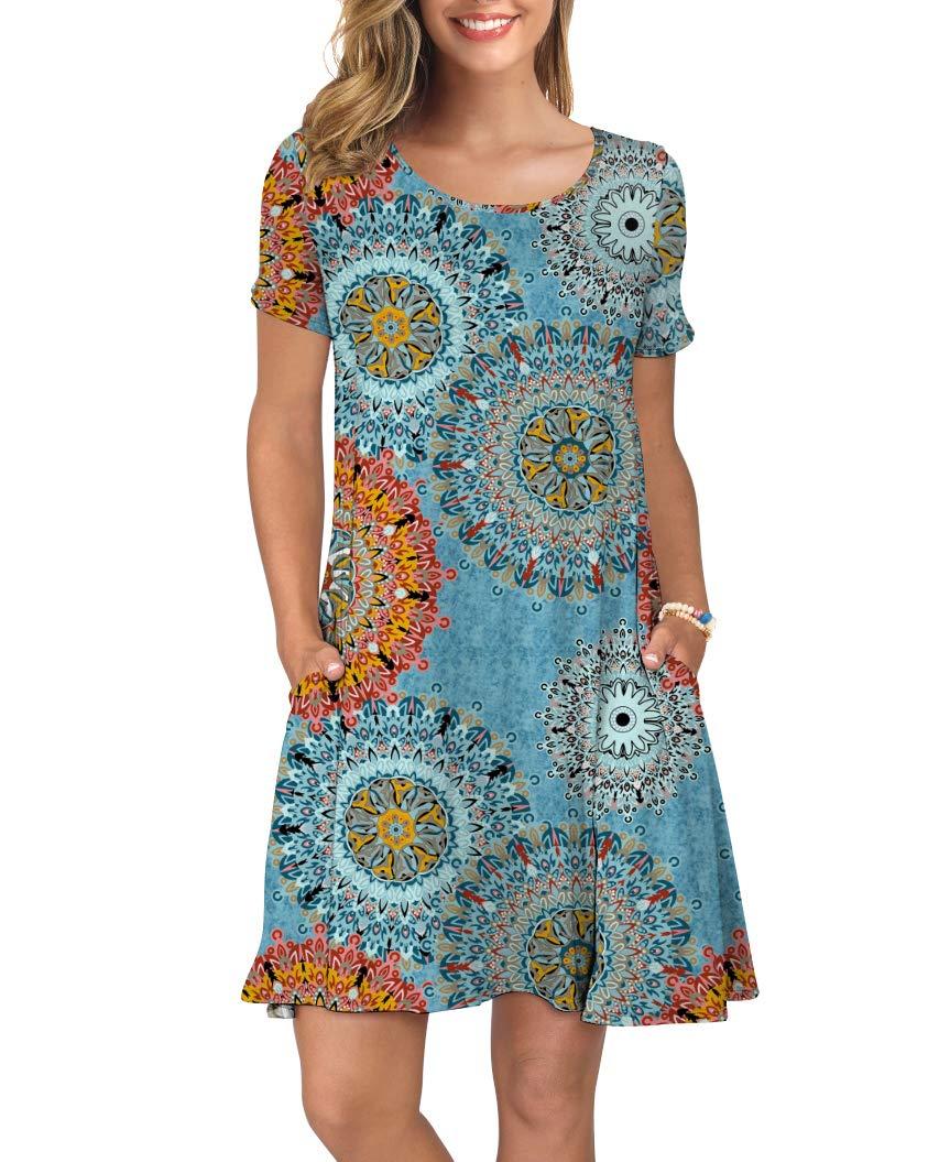 KORSIS Women's Summer Floral Dresses T Shirt Dress Flower Mix Blue L by KORSIS