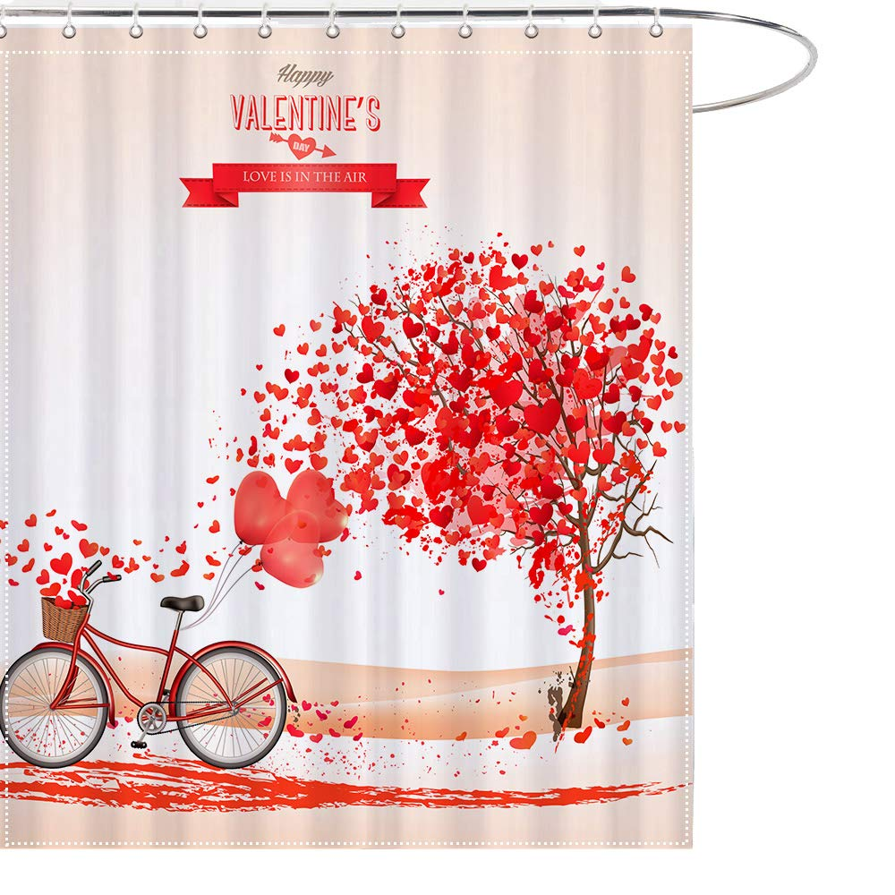Amazon MAEZAP Love Heart Tree Bicycle Shower Curtain Valentines Day Bathroom Decor Waterproof Polyester With Hooks 69x70 Inchs Home Kitchen