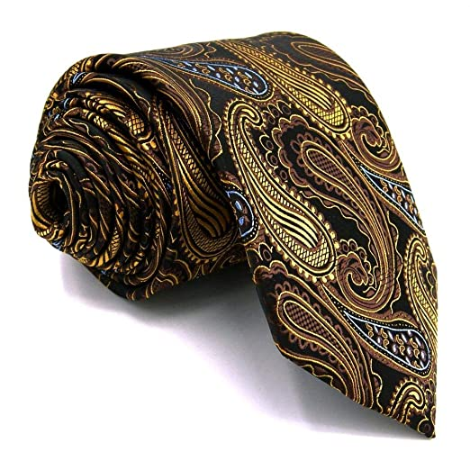 9157746fd01f Image Unavailable. Image not available for. Color: Shlax&Wing Paisley  Neckties Mens Ties Brown Yellow Designer Silk