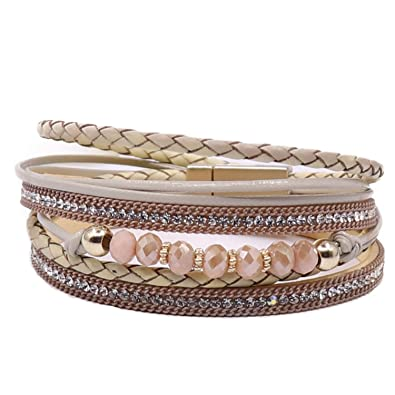 58d71cdabd0 KSQS Boho Multilayer Leather Wrap Bracelets Gorgeous Handmade Braided Wrap  Cuff Magnetic Buckle Casual Bangle for