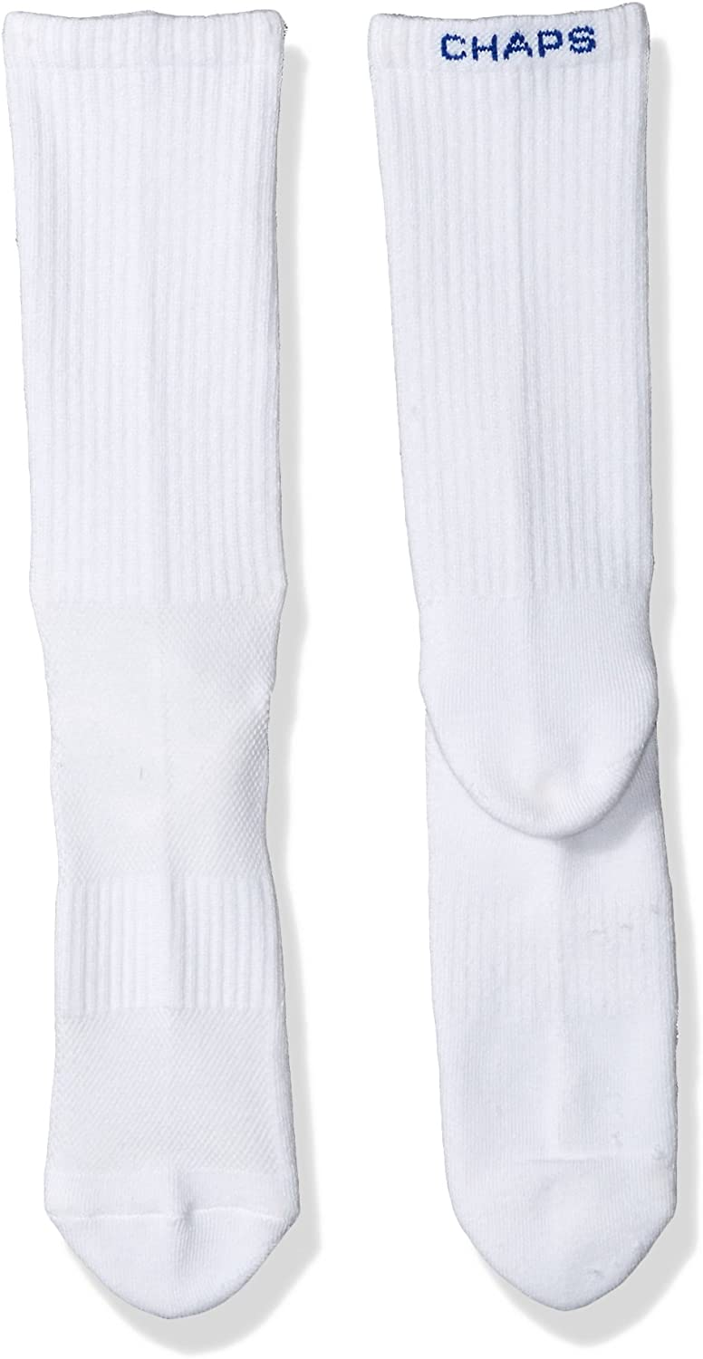 6 Pack Chaps Mens Solid Casual Crew Socks with Accented Brand