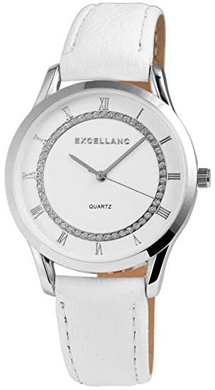 Reloj mujer Blanco Plata Brillantes Números Romanos analógico cuero reloj de pulsera