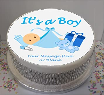 Personalised Its A Boy 19cm 75quot Edible Icing Cake Topper Sheet
