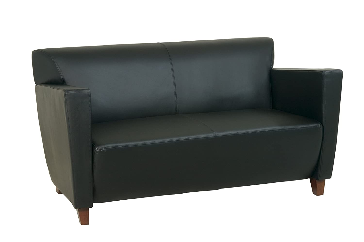 Office Star Modern Leather Sofa with Cherry Finish Legs, Black