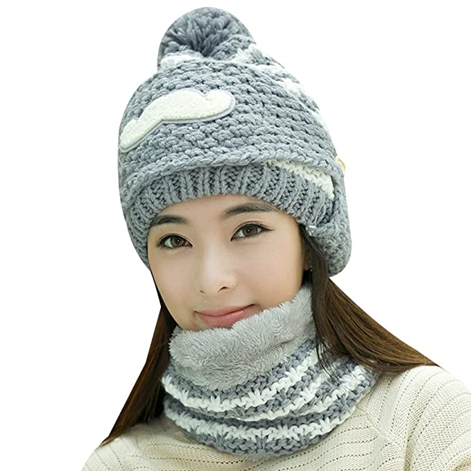 Womens Winter Knit Fleece Beard Face Mask Hood Scarf Neck Warmer ... 9a708812562d