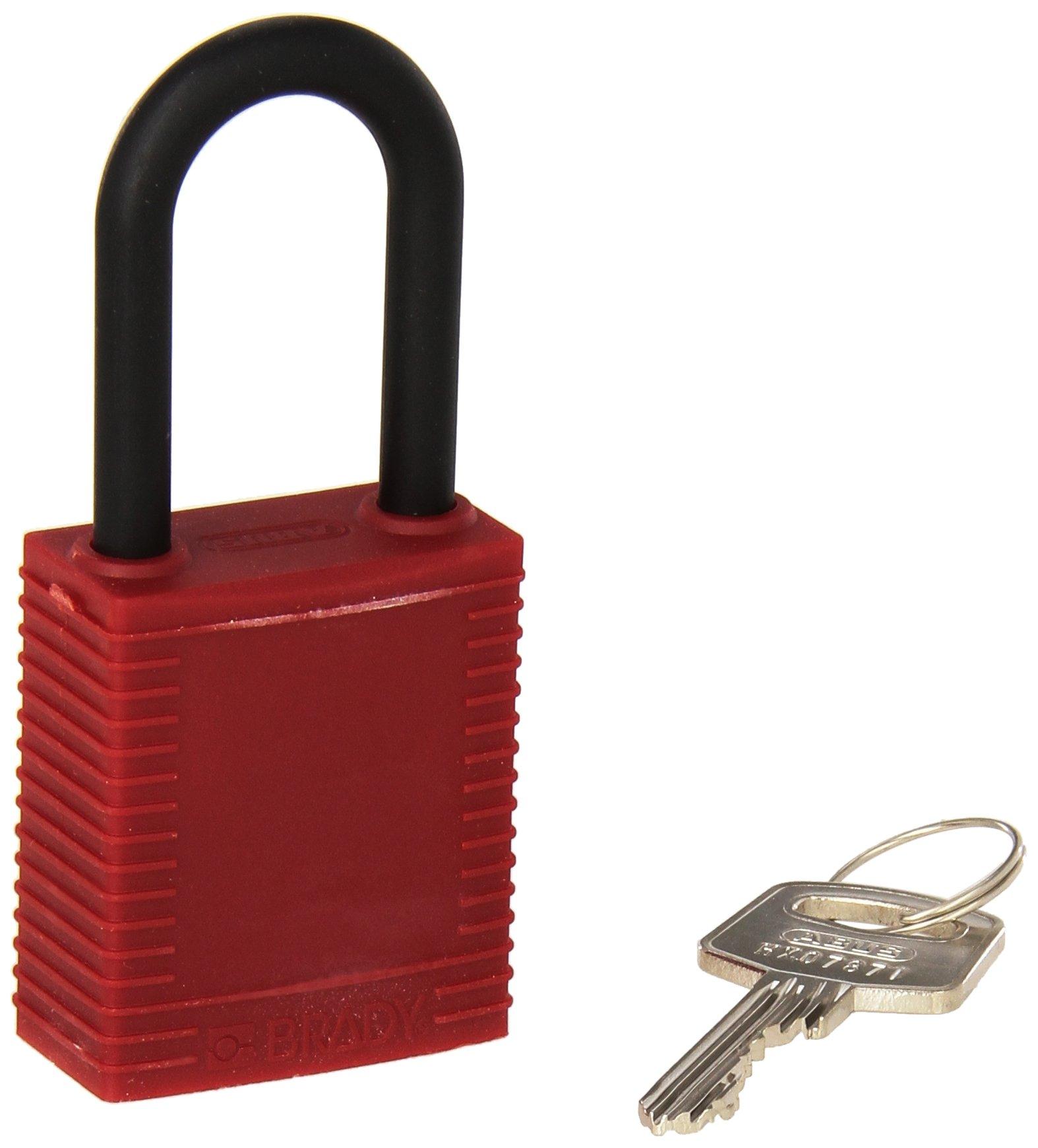 Brady 123342 Lockout Padlock, Keyed Alike, 1/4'' x 1-1/2'', Red