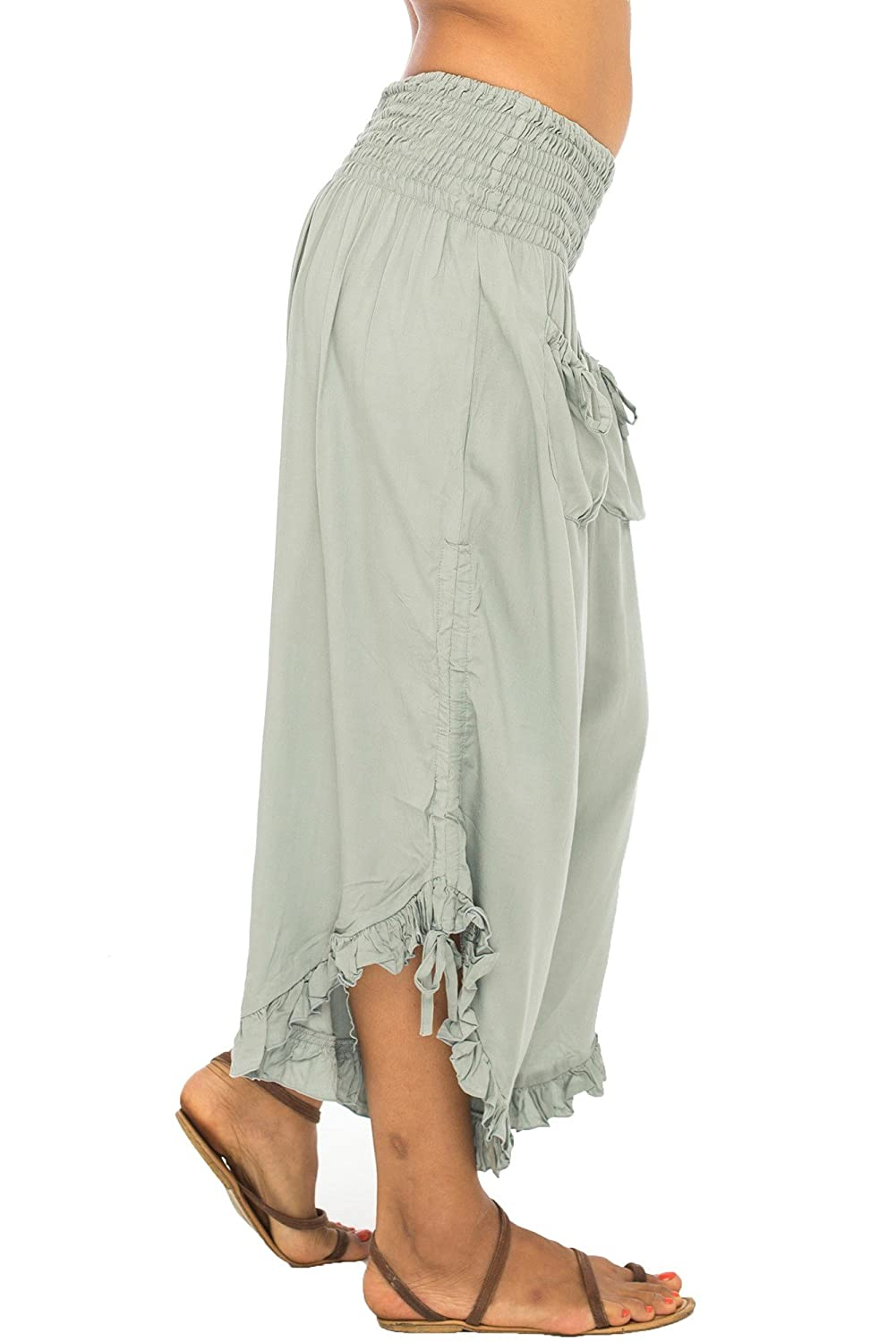 Women's Cropped Wide Leg Asian Lady Gray Pirate Pants - DeluxeAdultCostumes.com