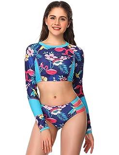 b88d5fbb44 Verano Playa Women Long Sleeve Rash Guard Swimsuit Surfing Crop Top Swimwear  Two Piece Splice Sporty