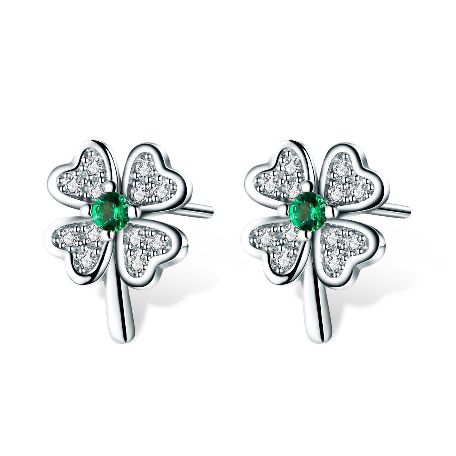 T400 Jewelers 925 Sterling Silver Four Leaf Clover Stud Earrings Made with Emerald Cubic Zirconia for Women Gift