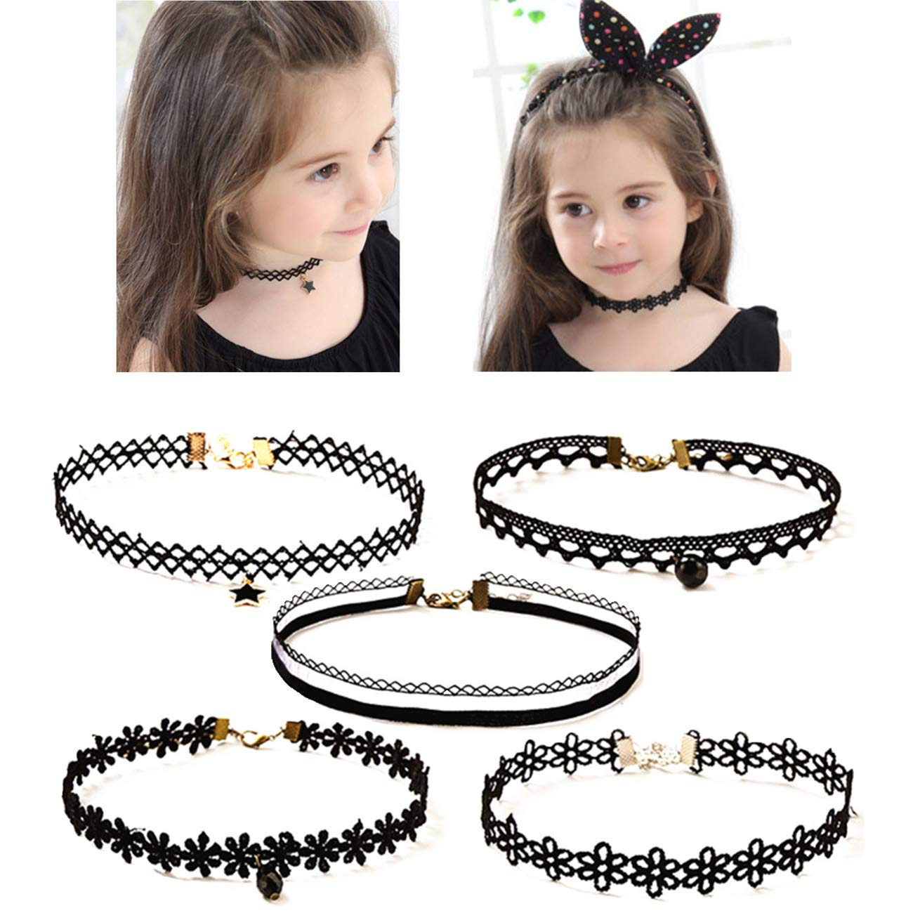 OCTCHOCO 5Pcs Choker Necklace for Girls Lace Choker Gothic Little Princess Fashion Jewelry