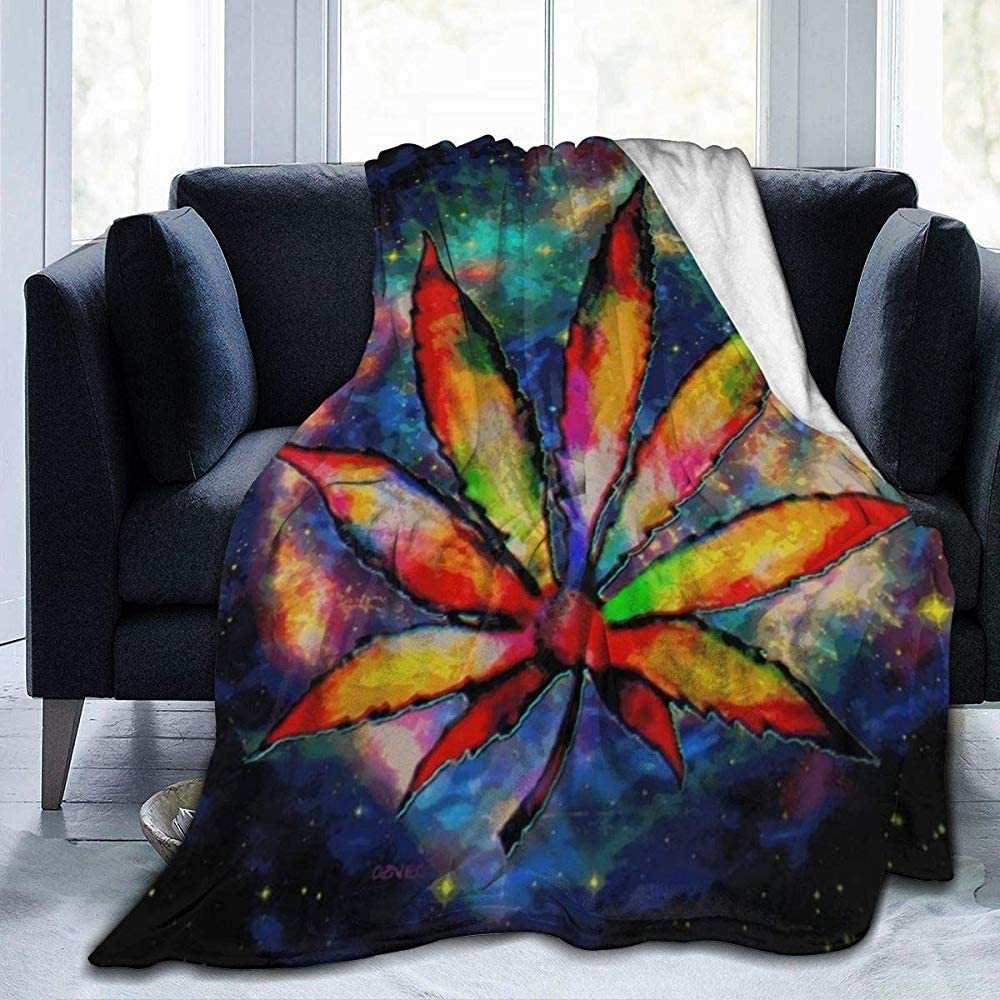 Fleece Blanket Marihuana Leaf Space Galaxy Weed Cannabis Fun Print Sofá Ultra Suave Manta De Cama Manta De Franela Todas Las Estaciones Sofá De Coche Dormitorio Dormitorio Interio