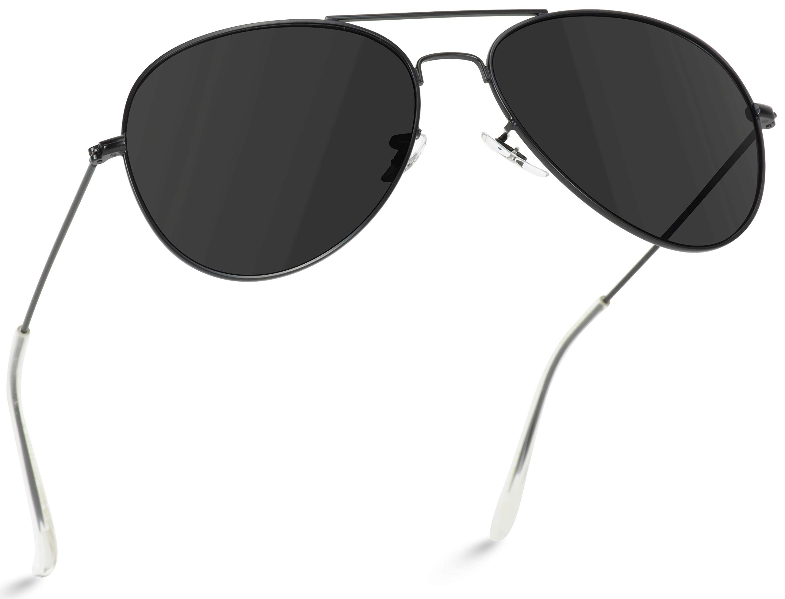 WearMe Pro - Polarized Metal Frame Pilot Style Aviator Sunglasses (Full Black, 60) by WearMe Pro